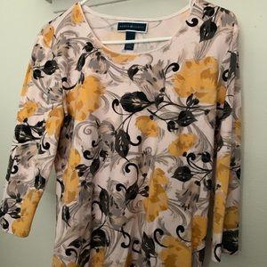 Karen Scott Blouse Floral Print Large Pullover